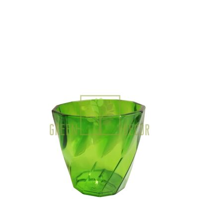 Мини кашпо для цветов Волна-6,5 0,15 л зеленый-прозрачный