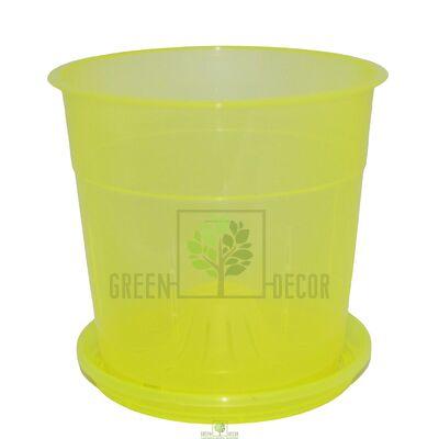 Горшок для орхидей с боковыми отверстиями желтый 1,1 л