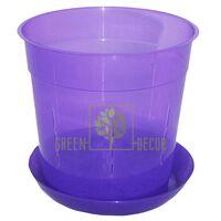 Горшок для орхидей с боковыми отверстиями фиолетовый 2 л с подставкой