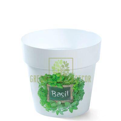 Горшок для цветов IML-12 0,8 л с принтом Базилик