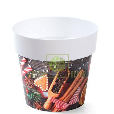 Горшок для цветов IML-14 1,3 л с принтом Новогоднее печенье