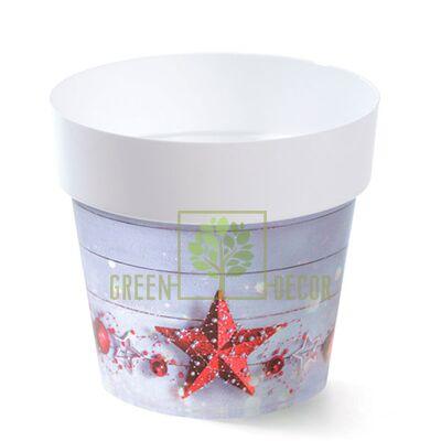 Горшок для цветов IML-14 1,3 л с принтом Новогодняя звезда