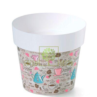 Горшок для цветов IML-14 1,3 л с принтом Кофе