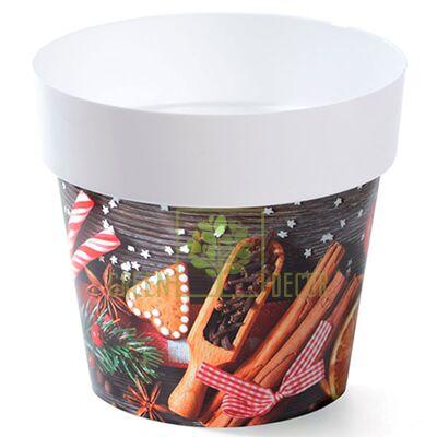Горшок для цветов IML-16 2 л с принтом Новогоднее печенье