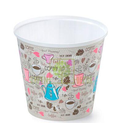 Горшок для цветов IML-высокий-13 1 л с принтом Кофе
