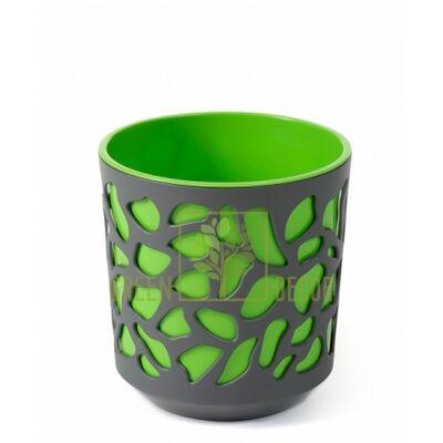 Горшок для цветов Дуэт-14 антрацит-зеленый