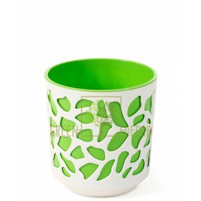 Горшок для цветов Дуэт-14 крем-зеленый