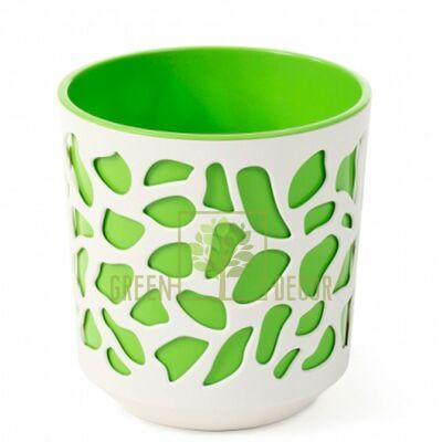 Горшок для цветов Дуэт-19 крем-зеленый