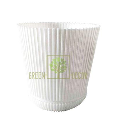 Горшок для цветов Гелиос-15 белый 1,75 л ребристый с подставкой