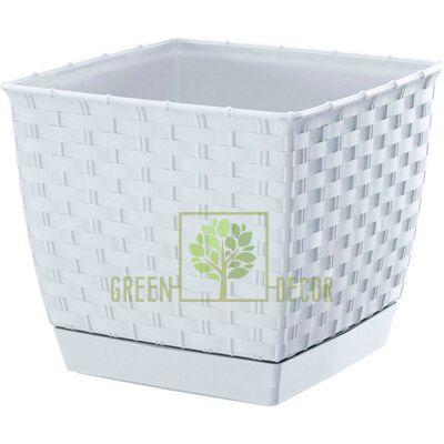 Горшок для цветов Ратолла 2,5 л квадратный белый ротанговый