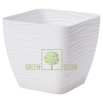 Горшок для цветов Сахара мини Квадро 1,3 л белый 3D