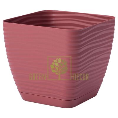Горшок для цветов Сахара мини Квадро 1,3 л марсала 3D