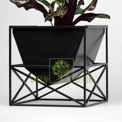 Дизайнерский горшок для цветов BUNKER черный 4 л
