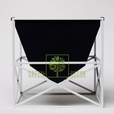 Дизайнерский горшок для цветов BUNKER черный-белый 4 л