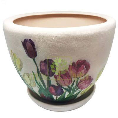 Горщик для квітів М-1 Тюльпани декупаж 8,3 л