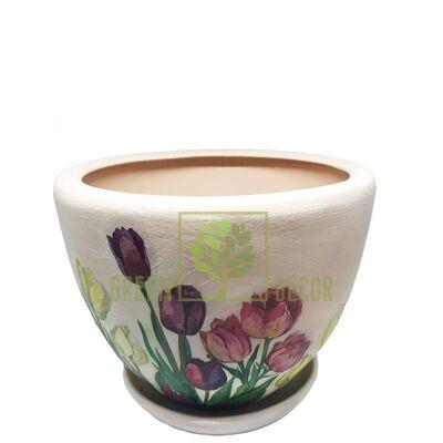 Горшок для цветов М-3 Тюльпаны декупаж