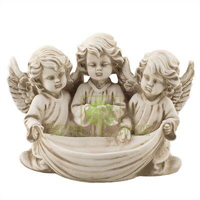 Статуэтка Три ангелочка с чашей песочный AN0712-7(G)