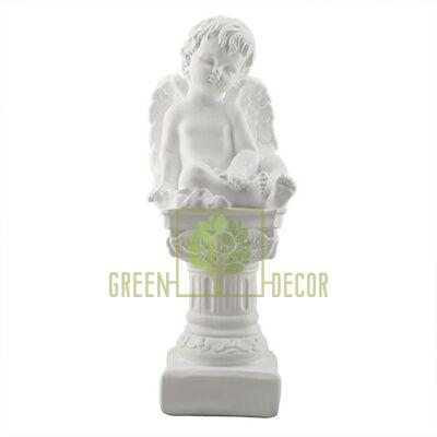 Статуэтка Ангел на колонне средний белый AN0020(G)
