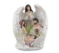 Статуэтка Святая семья с ангелом цветная