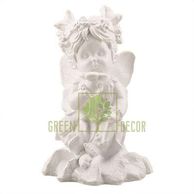 Статуэтка Ангел девочка с цветком белая AN0731(G)