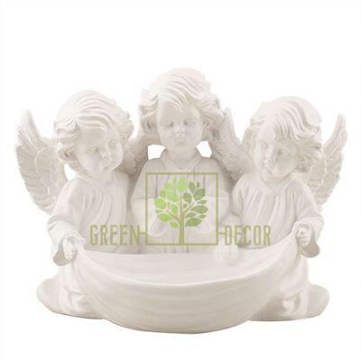 Статуэтка Три ангелочка с чашей белый AN0712(G)