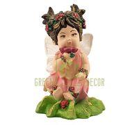 Статуэтка Ангел девочка с цветком цветная