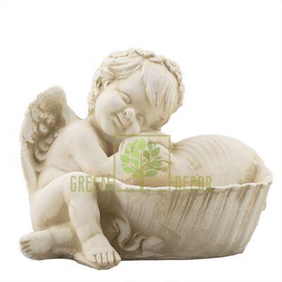 Статуэтка Ангелочек с ракушкой песочный AN0708-7(G)