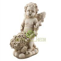 Статуэтка Ангелочек с тачкой песочный