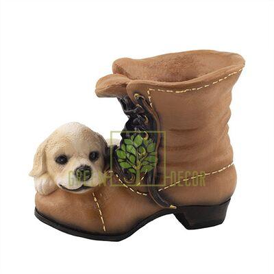 Кашпо для цветов Ботинок с собачкой К0206(G)