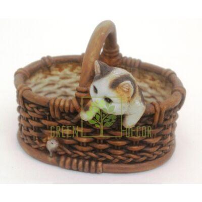 Кашпо для цветов Котенок с мышкой в корзинке - оригинальный подарок для родных и близких