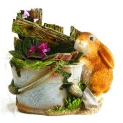 Кашпо для цветов Ведро с зайчиком