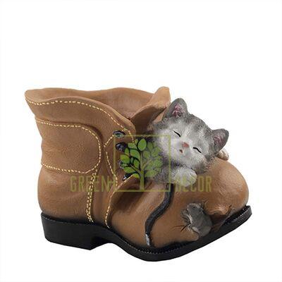 Кашпо для цветов Ботинок с котенком и мышкой