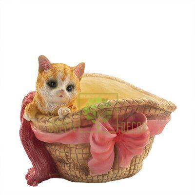 Кашпо для цветов Шляпка с котенком