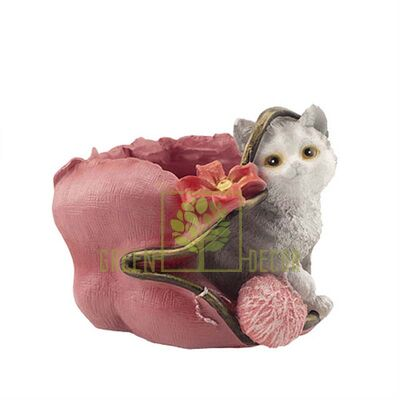 Кашпо для цветов Котик с клубочком
