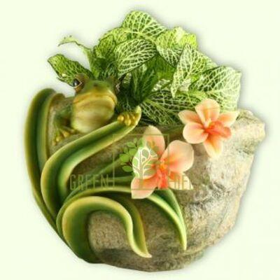Кашпо для цветов Лягушка с цветами