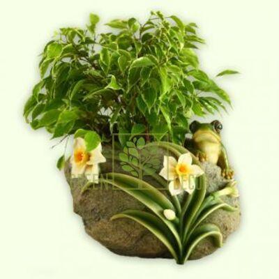 Кашпо для цветов Лягушка с цветами 2 - оригинальный подарок для родных и близких