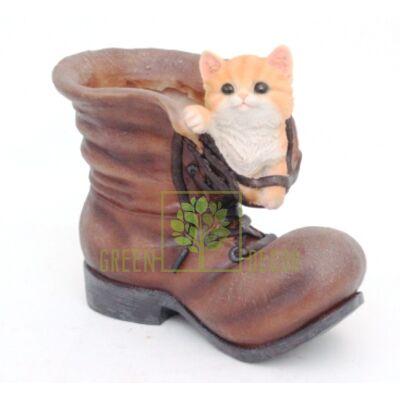 Кашпо для цветов Ботинок с котенком - оригинальный подарок для родных и близких