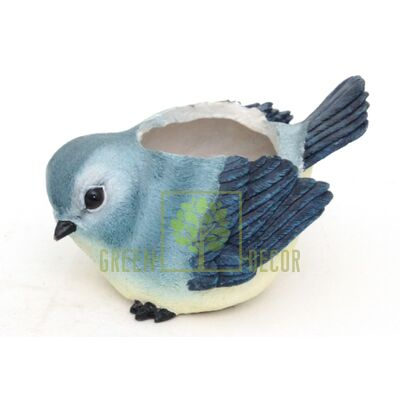 Кашпо для цветов Птичка синяя - оригинальный подарок для родных и близких
