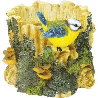 Кашпо для цветов Птичка на пне маленькая - оригинальный подарок для родных и близких