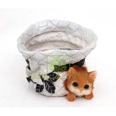 Кашпо для цветов Шляпка с котенком 1 - оригинальный подарок для родных и близких