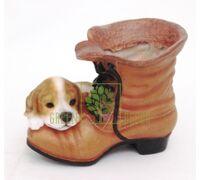 Кашпо Ботинок с собачкой