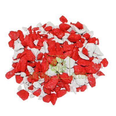 Декоративный щебень для клумб  20 кг Микс белый-красный