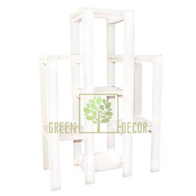 Подставка для цветов Каскад большой белый из дерева