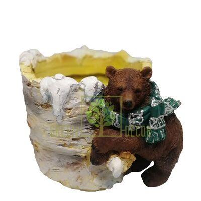 Новогоднее кашпо С Медвежонком новогоднее
