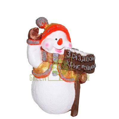Новогодняя фигурка Снеговик с табличкой Рождество