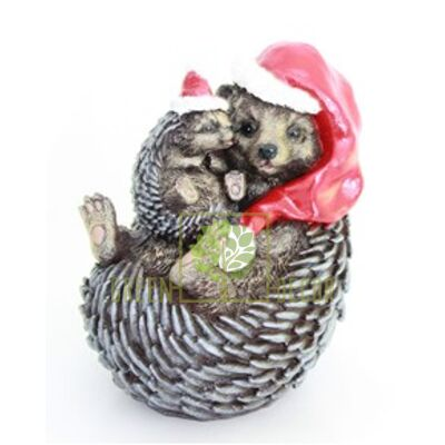 Новогодняя фигурка Ёжики мама с малышом новогодние